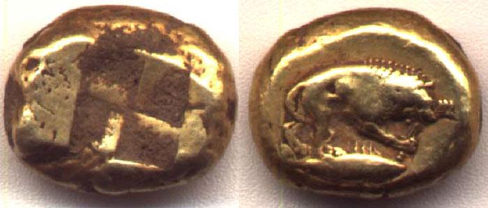 Античная монета так называемый кизикин.
